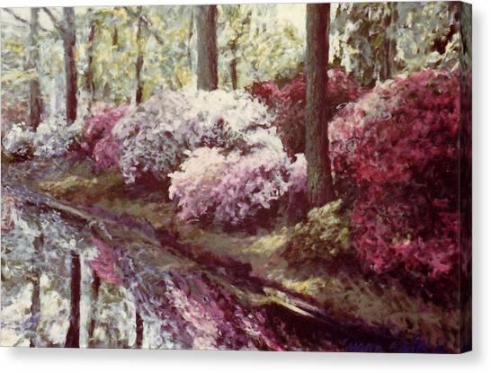 Azaleas By The Lake Canvas Print
