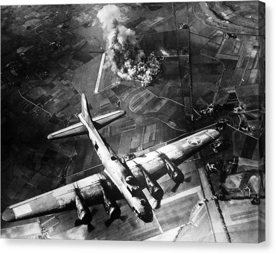 History Canvas Print - B-17 Bomber Over Germany  by War Is Hell Store