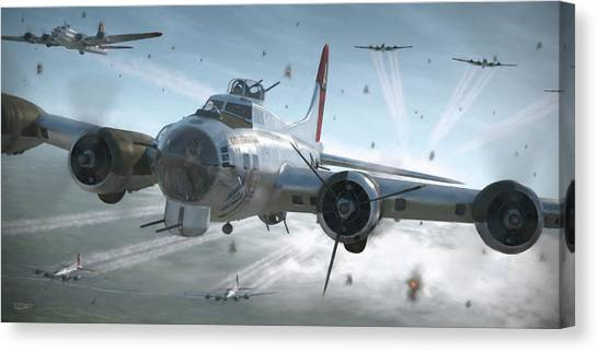 Air Force Canvas Print - B-17g Hikin' For Home - Painterly by Robert Perry