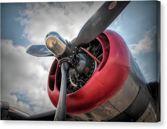 Canvas Print featuring the photograph B-24j Liberator Engine II by Kristia Adams
