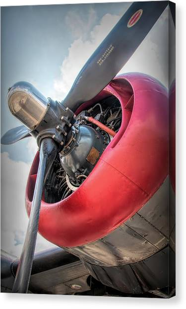 Canvas Print featuring the photograph B-24j Liberator Engine by Kristia Adams