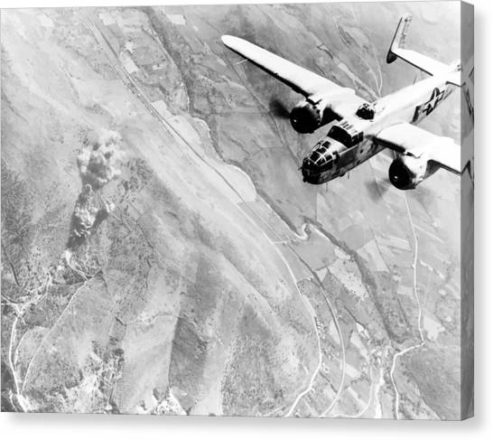 Air Force Canvas Print - B-25 Bomber Over Germany by War Is Hell Store