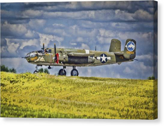 B-25 Landing Akron/canton Ohio Canvas Print
