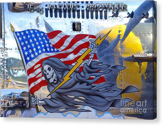 B-25 Pacific Prowler Nose Art Canvas Print by Larry Keahey