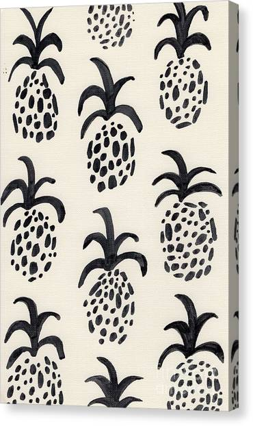 Pineapples Canvas Print - B And W Pineapple Print by Anne Seay