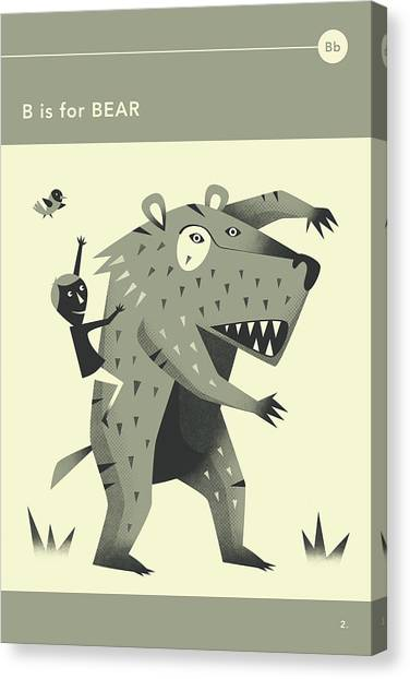 Bears Canvas Print - B Is For Bear by Jazzberry Blue