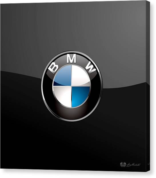 Automobiles Canvas Print - B M W  3 D Badge On Black by Serge Averbukh