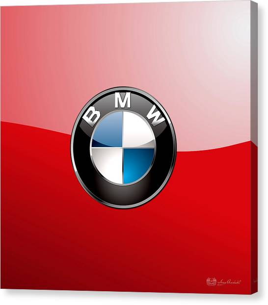Sports Canvas Print - B M W Badge On Red  by Serge Averbukh