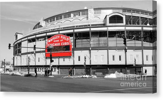 Chicago Cubs Canvas Print - B-w Wrigley 100 Years Young by David Bearden
