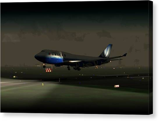 B747-400 Night Landing Canvas Print