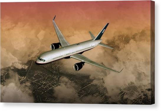 B757 Dawn Approach Canvas Print