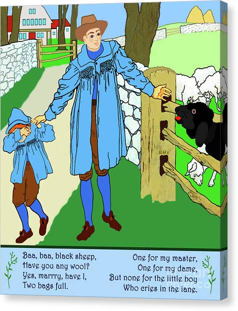 Canvas Print featuring the painting Baa, Baa, Black Sheep Nursery Rhyme by Marian Cates