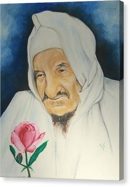 Baba Sali With Rose Canvas Print