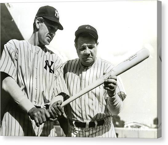 Babe Ruth Canvas Print - Babe Ruth And Lou Gehrig by Jon Neidert