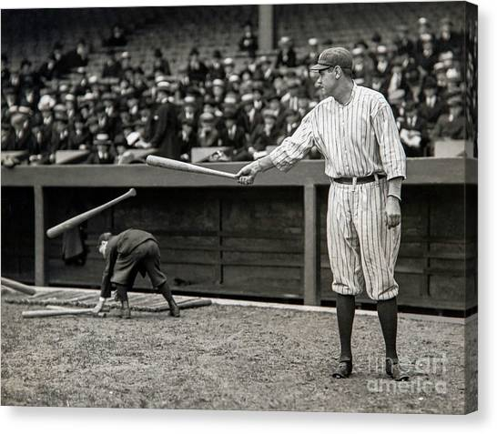 Babe Ruth Canvas Print - Babe Ruth At Bat by Jon Neidert