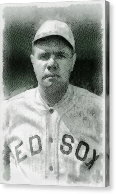 Baseball Players Canvas Print - Babe Ruth, Baseball Player by John Springfield