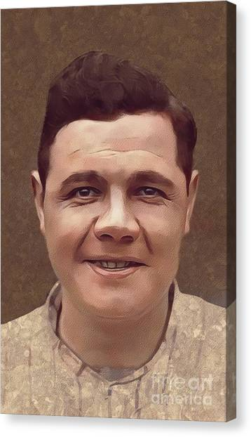Baseball Players Canvas Print - Babe Ruth, Baseball Player by Mary Bassett