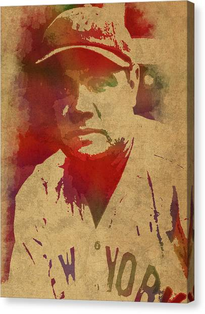 Baseball Players Canvas Print - Babe Ruth Baseball Player New York Yankees Vintage Watercolor Portrait On Worn Canvas by Design Turnpike