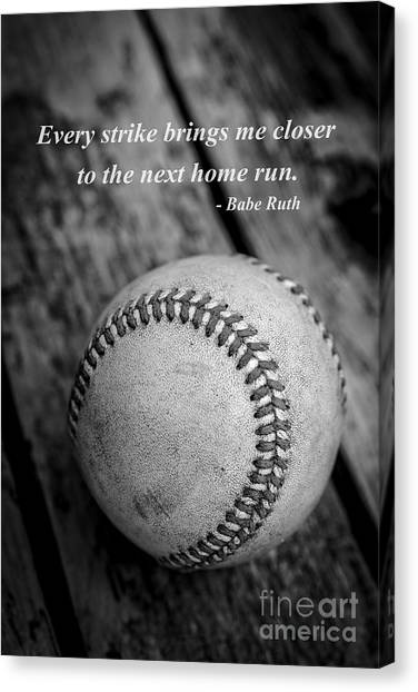 Babe Ruth Canvas Print - Babe Ruth Baseball Quote by Edward Fielding