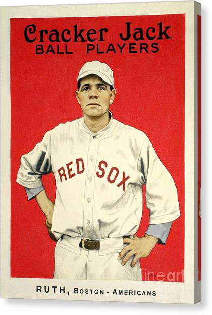 Babe Ruth Canvas Print - Babe Ruth Cracker Jack Card by Jon Neidert