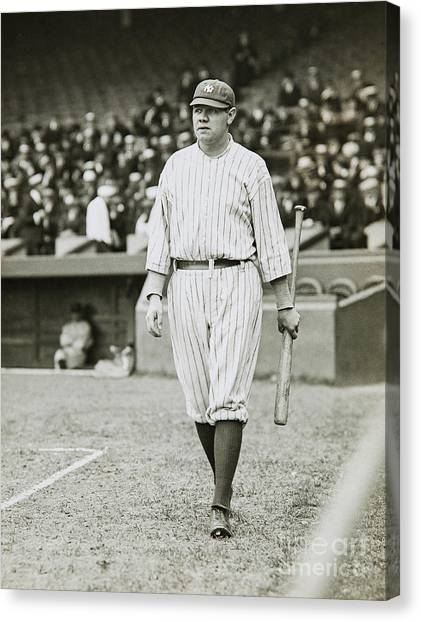 Babe Ruth Canvas Print - Babe Ruth Going To Bat by Jon Neidert