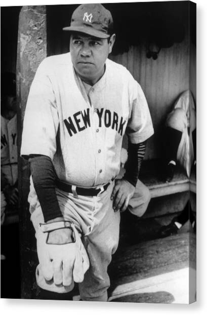 Jt History Canvas Print - Babe Ruth In The New York Yankees by Everett