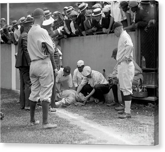 Babe Ruth Canvas Print - Babe Ruth Knocked Out By A Wild Pitch by Jon Neidert