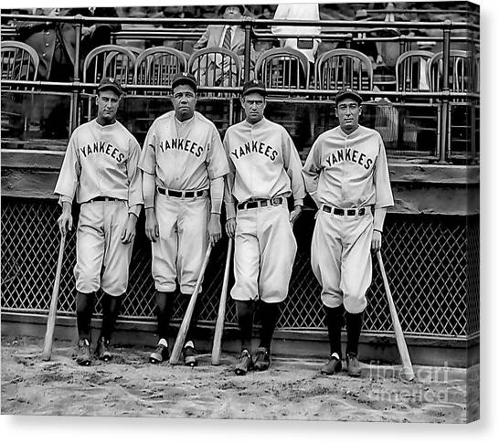 Lou Gehrig Canvas Print - Babe Ruth Lou Gehrig And Joe Dimaggio by Marvin Blaine