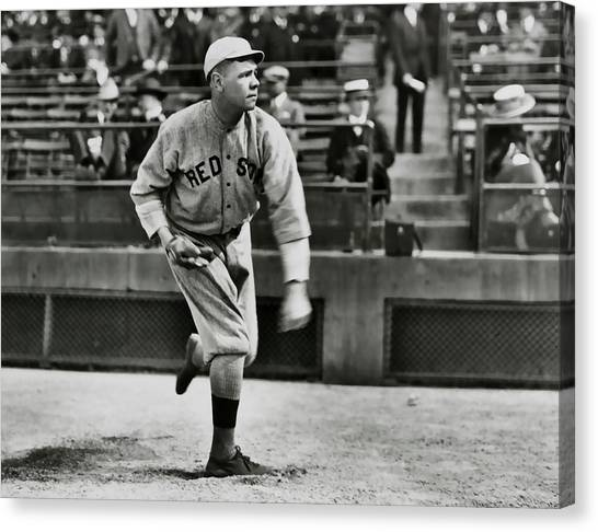 Babe Ruth Canvas Print - Babe Ruth - Pitcher Boston Red Sox  1915 by Daniel Hagerman