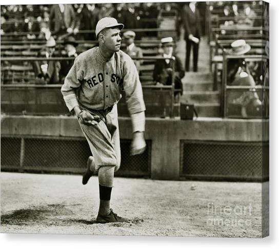Babe Ruth Canvas Print - Babe Ruth Pitching by Jon Neidert