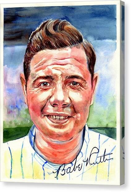 Patriot League Canvas Print - Babe Ruth Portrait by Suzann's Art