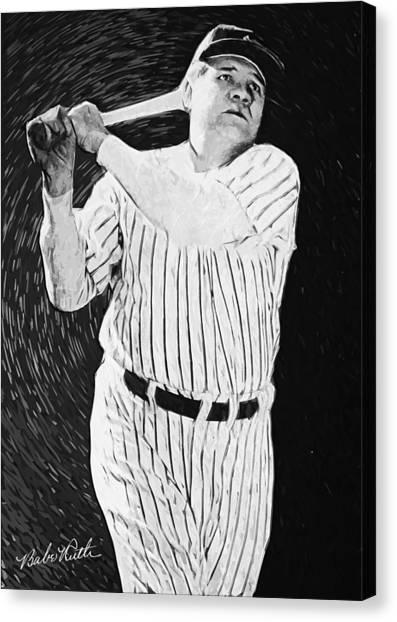 Lou Gehrig Canvas Print - Babe Ruth by Taylan Apukovska