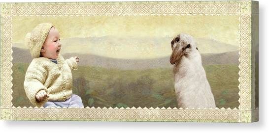 Baby And Bunny Talk Canvas Print