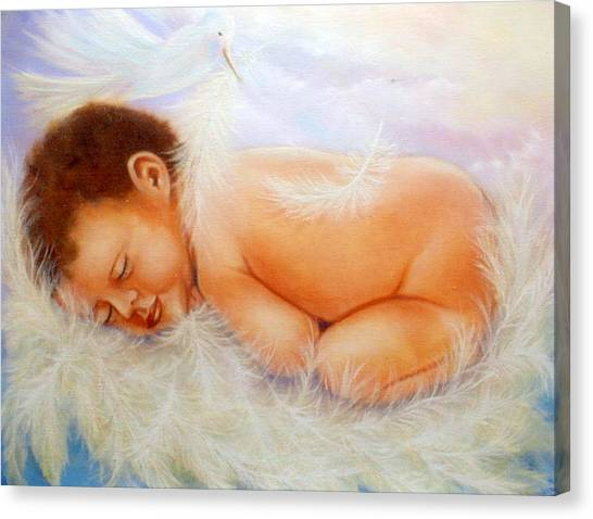 Baby Angel Feathers Canvas Print by Joni McPherson
