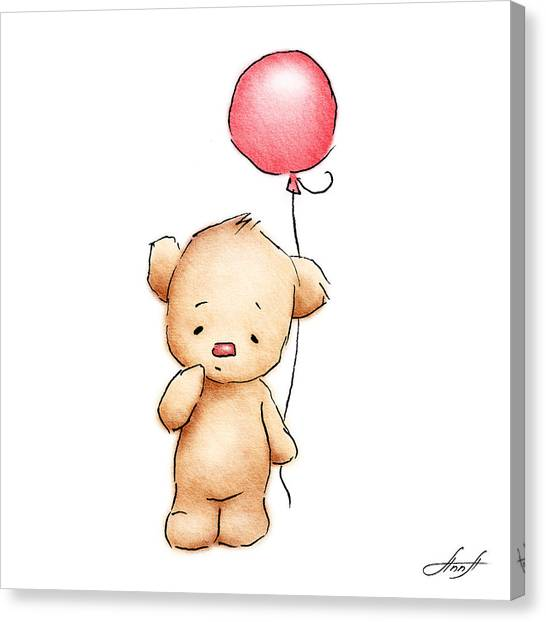 Birthday Gift Canvas Print - Teddy Bear With Red Balloon by Anna Abramska