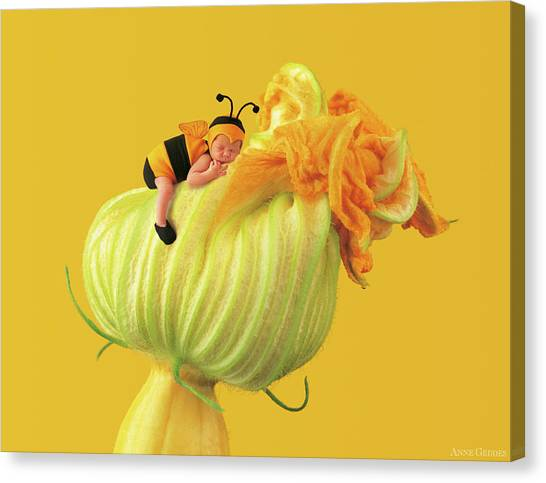Yellow Flowers Canvas Print - Baby Bee by Anne Geddes