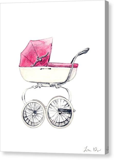 New Baby Canvas Print - Baby Carriage In Pink - Vintage Pram English by Laura Row
