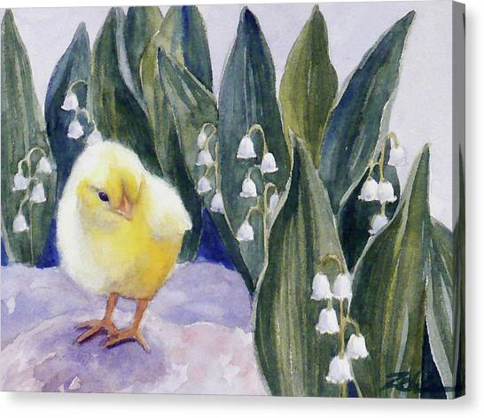 Baby Chick And Lily Of The Valley Flowers Canvas Print