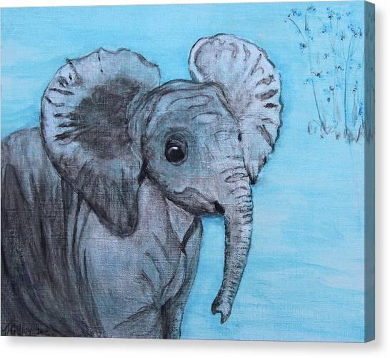 Happy Elephant Canvas Print - Baby Elephant by M Gilroy