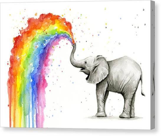 Rainbows Canvas Print - Baby Elephant Spraying Rainbow by Olga Shvartsur