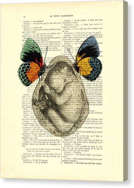 Yellow Butterfly Canvas Print - Baby Foetus And Butterflies by Madame Memento