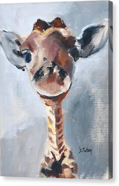 Baby Giraffe Safari Animal Painting Canvas Print