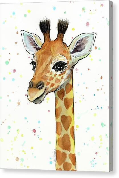 Whimsical Canvas Print - Baby Giraffe Watercolor With Heart Shaped Spots by Olga Shvartsur
