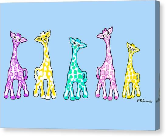 Baby Giraffes In A Row Pastels Canvas Print