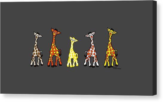 Baby Giraffes In A Row Canvas Print