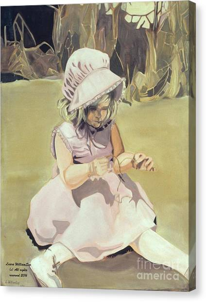 Baby Girl Discovering Canvas Print