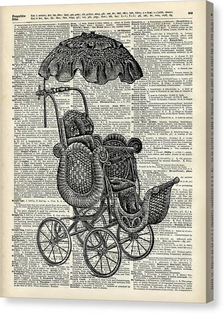 New Baby Canvas Print - Baby Pram Over A Vintage Dictionary Page by Anna W