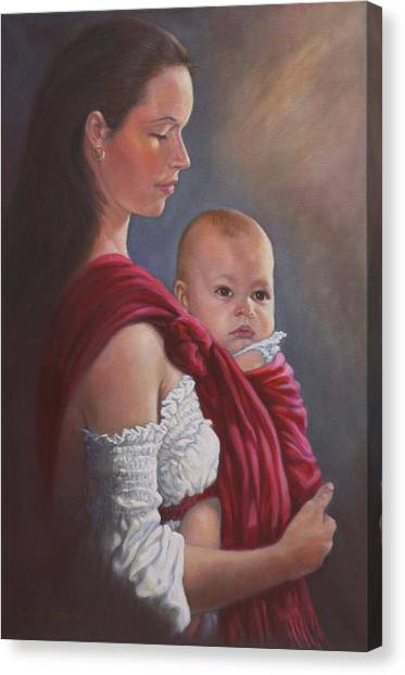 Baby In Rebozo Canvas Print