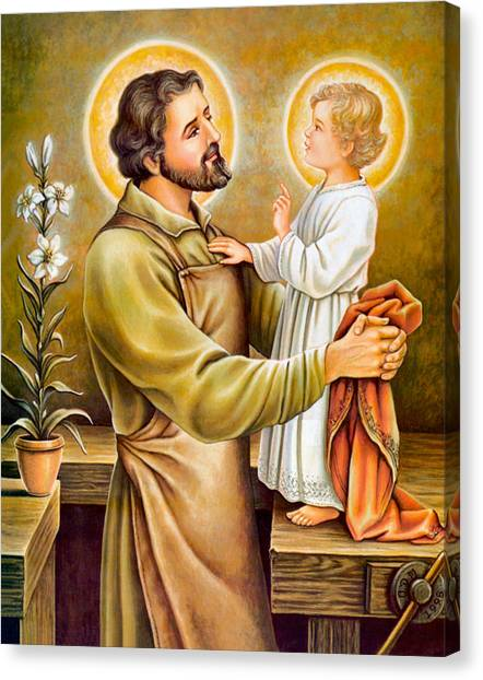 Baby Jesus Talking To Joseph Canvas Print