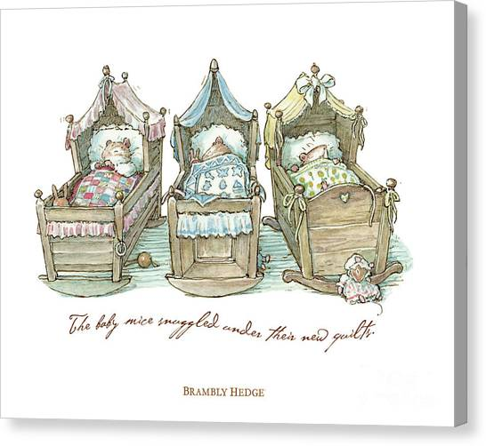 New Baby Canvas Print - The Brambly Hedge Baby Mice Snuggle In Their Cots by Brambly Hedge